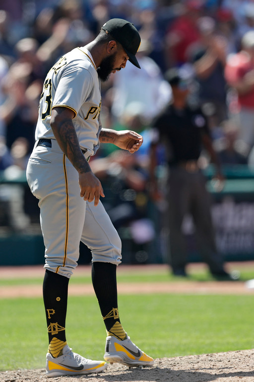 . Pittsburgh Pirates relief pitcher Felipe Vazquez waits for Cleveland Indians\' Yonder Alonso to run the bases after Alonso hit a two-run home run in the eighth inning of a baseball game, Wednesday, July 25, 2018, in Cleveland. (AP Photo/Tony Dejak)