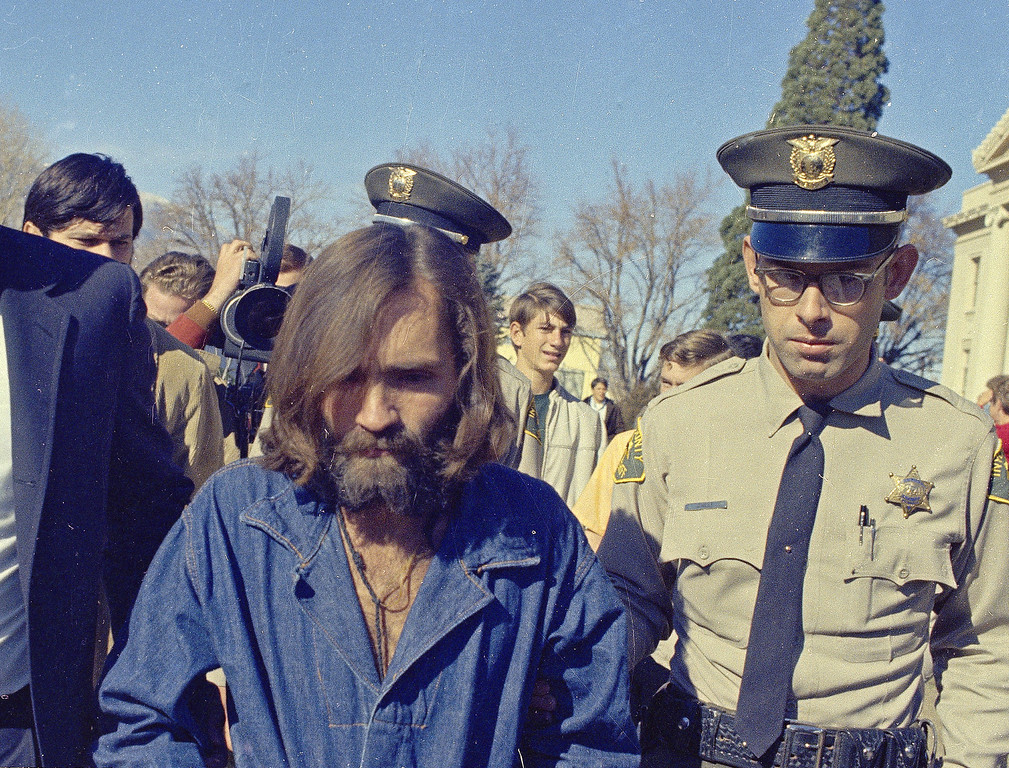. Cult leader Charles Manson, who is linked to the Sharon Tate murders, is seen 1969. (AP Photo)