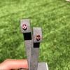 .79ctw Oval Padparadscha Sapphire Bezel Stud Earrings 19