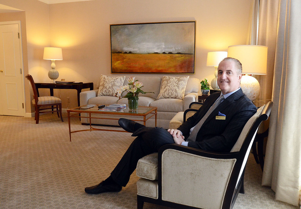 . Steven Kalczynski, Managing Director, in one of the renovated suites at The Townsend Hotel in Birmingham, pictured Monday March 24, 2014. (Vaughn Gurganian-The Oakland Press)