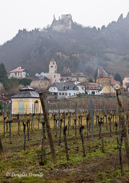 Durnstein: vineyard, village, and old castle