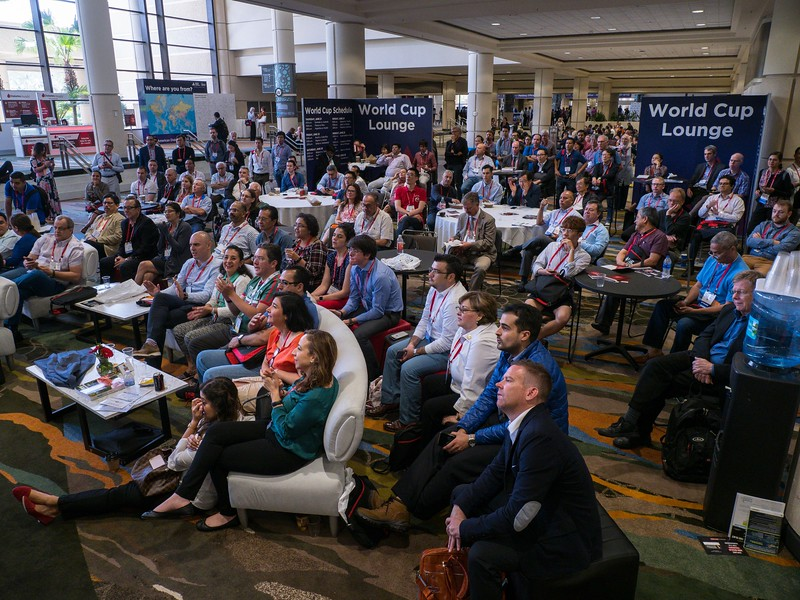 Soccer fans cheer during World Cup Lounge