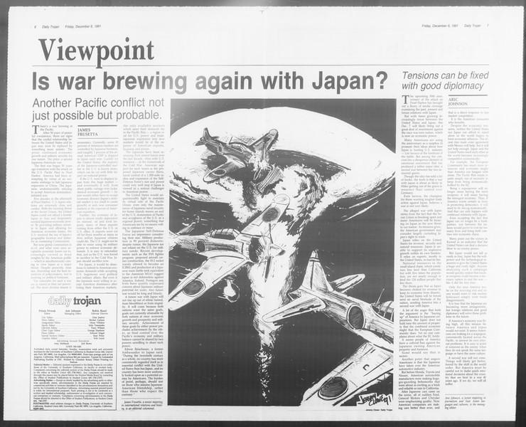 Daily Trojan, Vol. 116, No. 64, December 06, 1991
