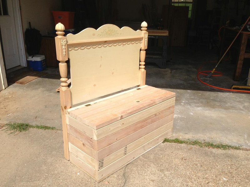 Deep toy chest made from an old twin headboard!