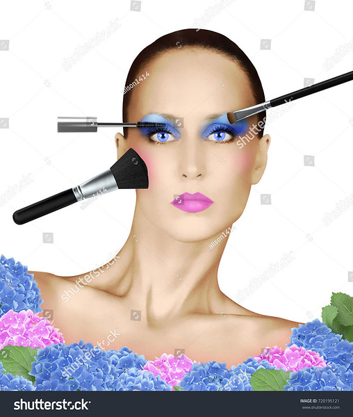 Fashion Face With Various Makeup Brushes