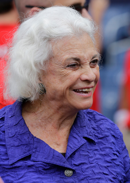 . Retired U.S. Supreme Court Justice Sandra Day O\'Connor stands on the field before a baseball game between the Washington Nationals the Colorado Rockies at Nationals Park Thursday, June 20, 2013, in Washington. (AP Photo/Alex Brandon)