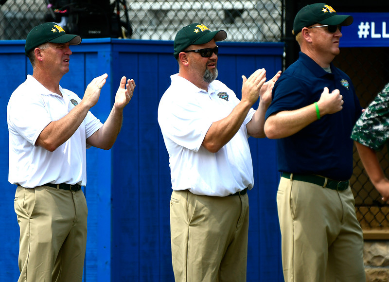 8/8/2018 Mike Orazzi | Staff Middletown New Jersey Little League coaches during Wednesday's game with Mid Island at Breen Field in Bristol.