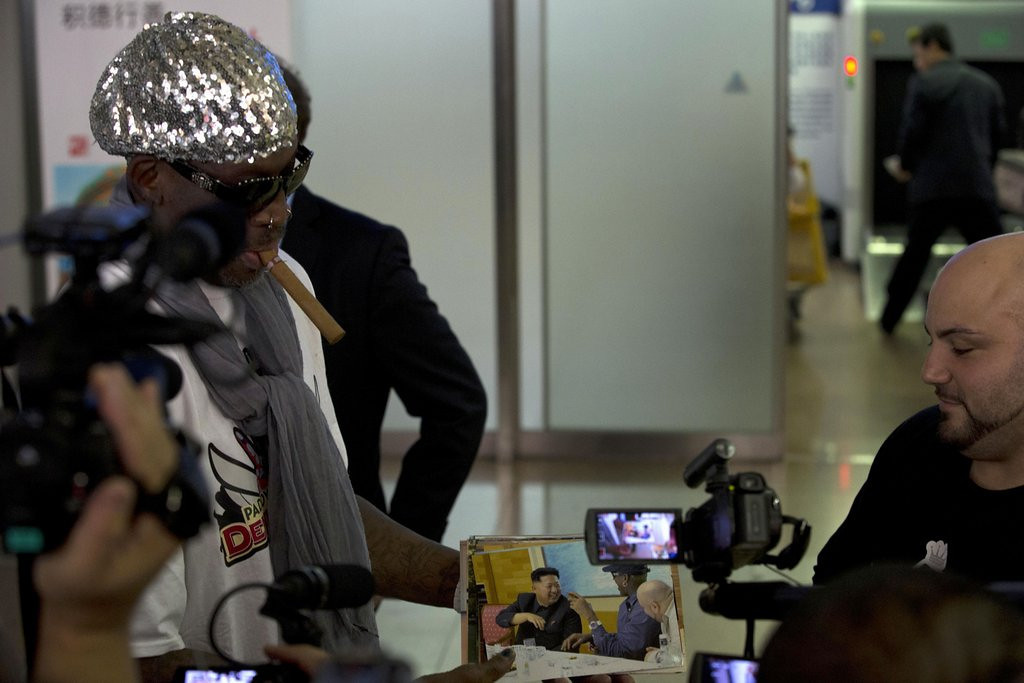 """. <p>2. DENNIS RODMAN  <p>First foreigner to hold North Korean leader�s baby daughter ... who immediately contracted herpes. (unranked) <p><b><a href=\'http://www.twincities.com/sports/ci_24050461/dennis-rodman-wants-bring-ex-nba-stars-north\' target=\""""_blank\""""> HUH?</a></b> <p>    (AP Photo/Ng Han Guan)"""