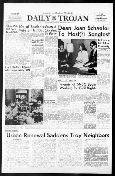 Daily Trojan, Vol. 57, No. 110, April 27, 1966