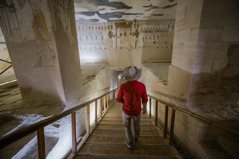 David Stock Jr of Divergent Travelers Adventure Travel blog exploring the Valley of the Kings in Egypt