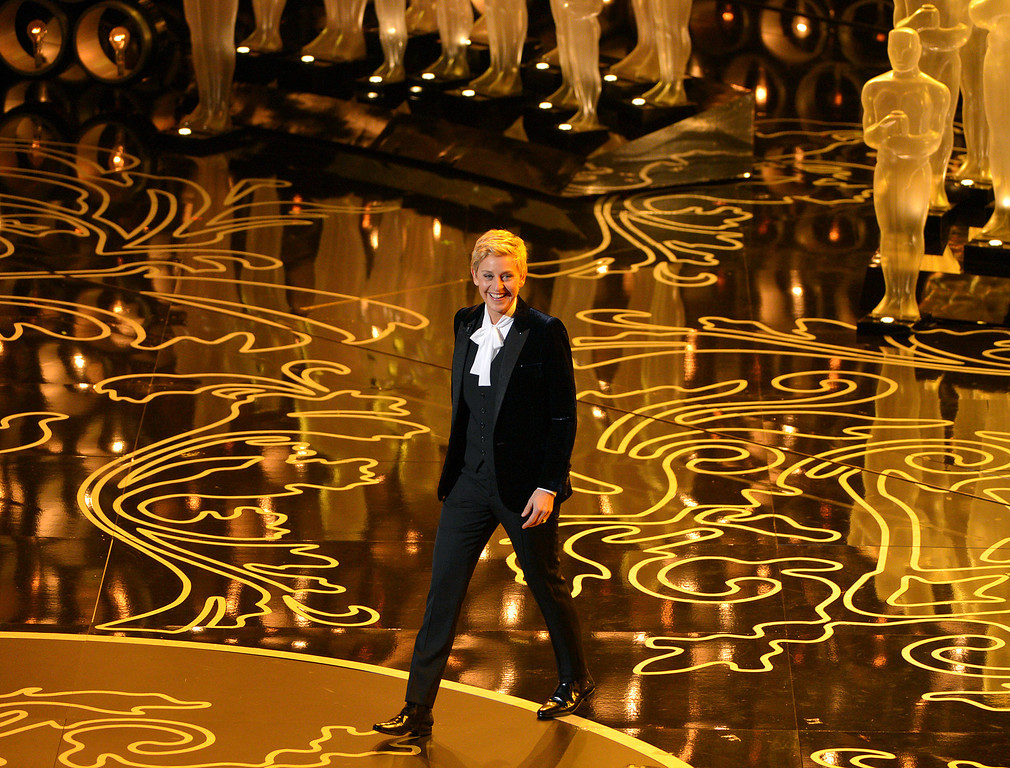 . Ellen DeGeneres hosts the Oscars at the Dolby Theatre on Sunday, March 2, 2014, in Los Angeles.  (Photo by John Shearer/Invision/AP)