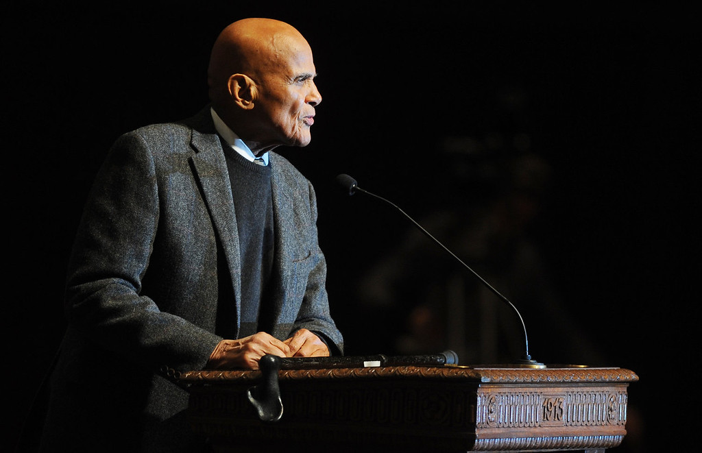 . Activist and entertainer Harry Belafonte gives the keynote address for the Rev. Dr. Martin Luther King Jr. Symposium at Hill Auditorium on the University of Michigan campus in Ann Arbor, Mich., for Martin Luther King Jr. Day, on Monday, Jan. 20, 2014. (AP Photo/The Ann Arbor News, Melanie Maxwell)