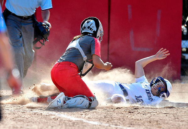 6/8/2019 Mike Orazzi | Staff NFA's Brenna Comeau (7) tags out Southington's Ashlyn Desaulniers?(12) during Saturday's Class LL Softball Final at DeLuca Field in Stratford.