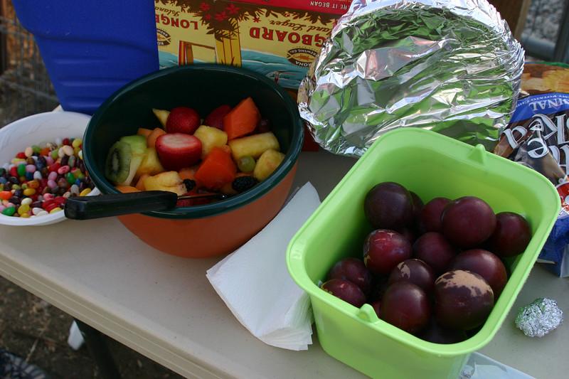 Food part 1: Jelly Bellies, fruit salad, freshly picked plums