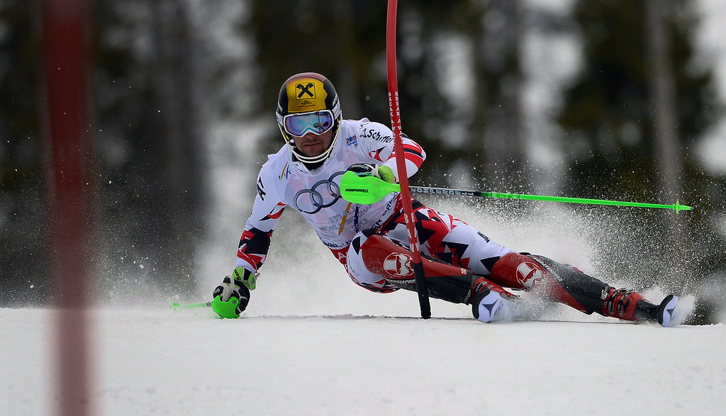 . BEAVER CREEK, CO - FEBRUARY 15: Marcel Hirscher of Austria competes in the first run of the Men\'s slalom during the FIS  Alpine World Ski Championships in Beaver Creek, CO. February 15, 2015. (Photo By Helen H. Richardson/The Denver Post)