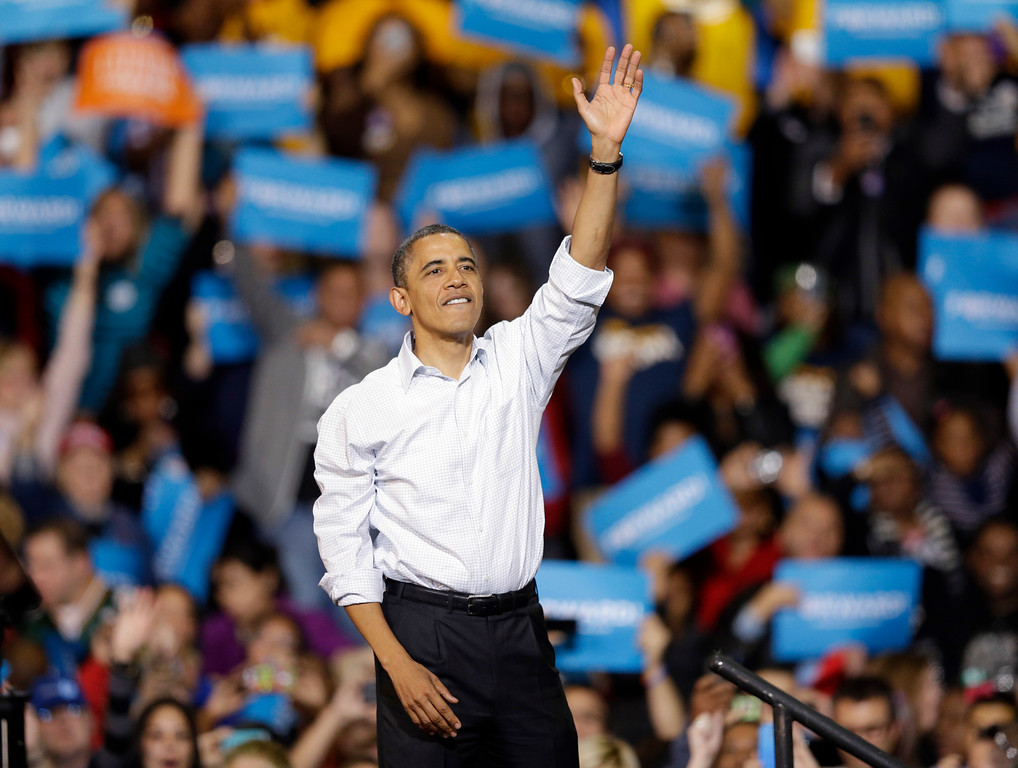 . President Barack Obama waves after speaking at a campaign event Saturday, Nov. 3, 2012, in Milwaukee. (AP Photo/Morry Gash)