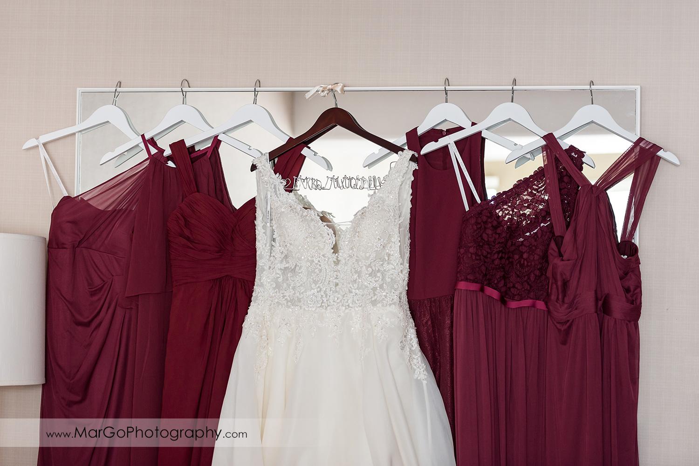 bride and bridesmaids' dresses at San Diego Hyatt Regency Mission Bay Hotel