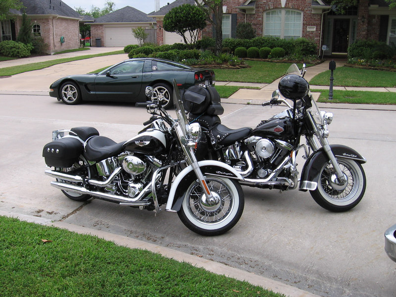 Sherri arrived on her new Harley (the closer one in the picture). That's Ryan's corvette parked across the street.