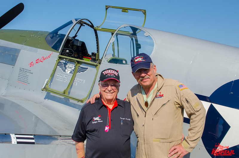 Tuskegee Airman Lt. Col. George Hardy and pilot Doug Rozendaal before George's first Mustang flight in 69 years at Sun 'n Fun