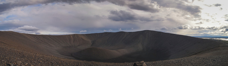 Panoramic view of the Hverfjall crater.  The crater is about 1km across.