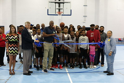 Rec gym ribbbon-cutting