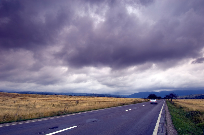 Stormy clouds over a road, Transylvania, Romania