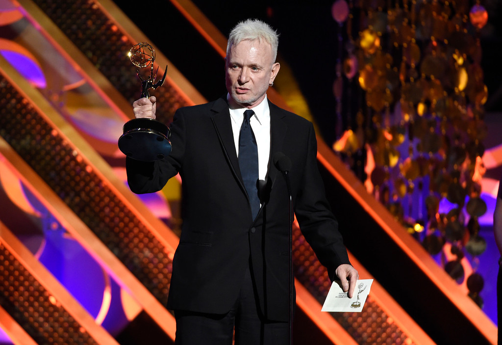 . Anthony Geary accepts the award for outstanding lead actor in a drama series for �General Hospital� at the 42nd annual Daytime Emmy Awards at Warner Bros. Studios on Sunday, April 26, 2015, in Burbank, Calif. (Photo by Chris Pizzello/Invision/AP)