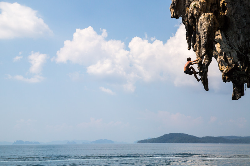 Deep Water Soloing, Spiderman Wall, Poda Island, Thailand.