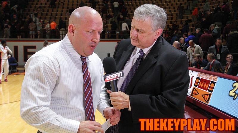 Buzz Williams speaks with ESPN after the game. The Hokies won 65-61. (Mark Umansky/TheKeyPlay.com)