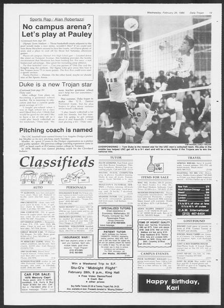 Daily Trojan, Vol. 100, No. 32, February 26, 1986