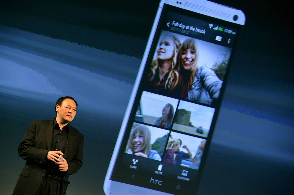 . HTC CEO, Peter Chou, speaks during the launch of the HTC One smartphone in London February 19, 2013. REUTERS/Toby Melville
