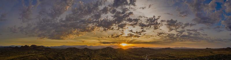 Sunrise panorama in the sonoran desert