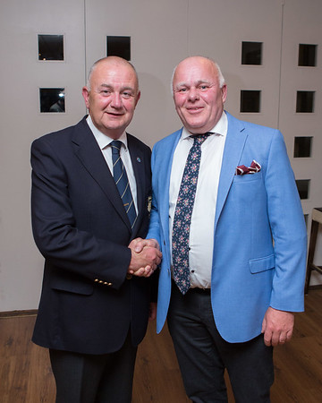 Pat Sheehy, Winner of the President's Prize 2019 receives his prize from Colm Nagle - Club President