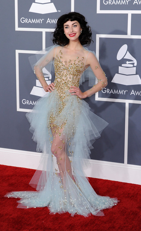 . Kimbia arrives to  the 55th Annual Grammy Awards at Staples Center  in Los Angeles, California on February 10, 2013. (Michael Owen Baker, staff photographer)