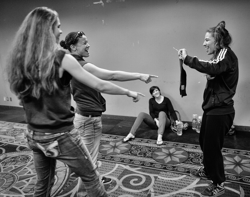 . Shayna Baszler and Jessamyn Duke react as Marina Shafir shows them her new fighting shorts before Shafir\'s professional debut at  Chaos at the Casino 4 at Hollywood Park Casino in Inglewood, CA. (Photo by Hans Gutknecht/Los Angeles Daily News)