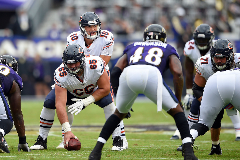 . Chicago Bears quarterback Mitchell Trubisky (10) looks across the line of scrimmage in the second half of an NFL football game against the Baltimore Ravens, Sunday, Oct. 15, 2017, in Baltimore. (AP Photo/Nick Wass)