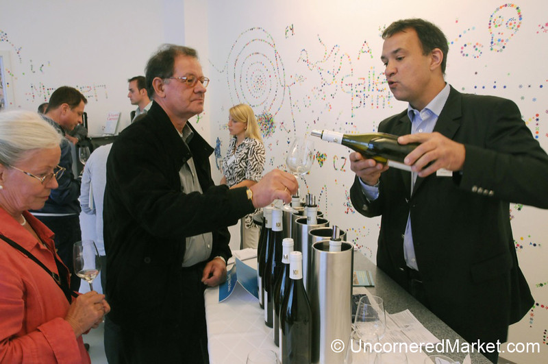 Pouring Wine for a Tasting at a Gallery in Berlin