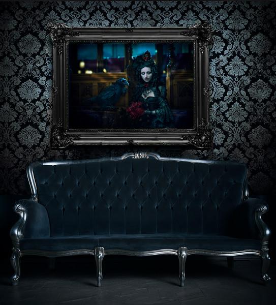 The Requiem Rose framed