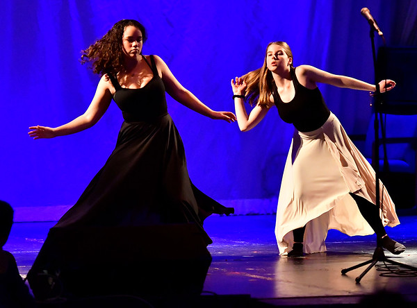 3/23/2019 Mike Orazzi | Staff McKenzie Snell and Sara Marturano perform during The Queen Ann Nzinga Centers 10th annual Connie Wilson Collins Exceptional Women Concert, honoring outstanding women from the Greater Bristol, Plainville and New Britain community, held at Trinity on Main Saturday evening.