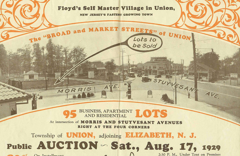 Auction flyer for The Auctioning of the Self Master Colony property in 1929 Showing Union Center and the edge of the colony property.
