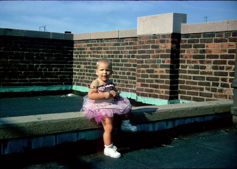 pat in ballet costume on roof.jpg