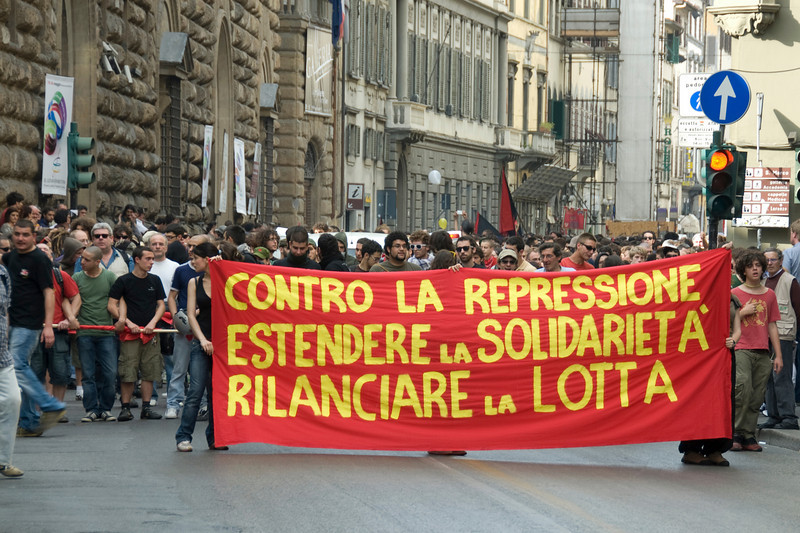 Ongoing protest on the street of Florence, Italy
