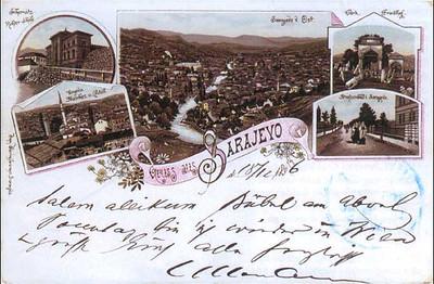 Panorama Sarajeva pre izgradnje Gradske vjecnice devedesetih godina 19.vijekax.jpg