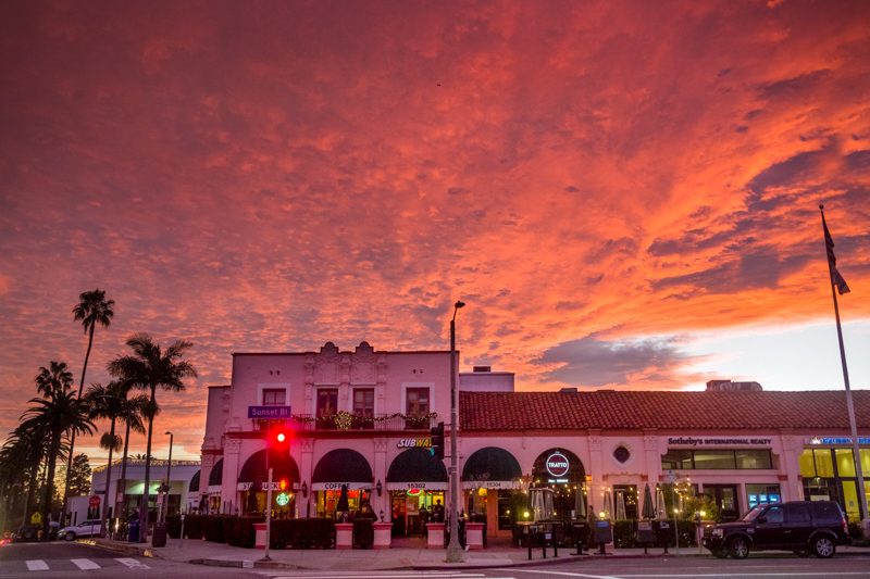 January 1 - Historic Pink building in Pacific Palisades, CA under a spectacular New Year's Day sunset to start the new year and decade!.jpg