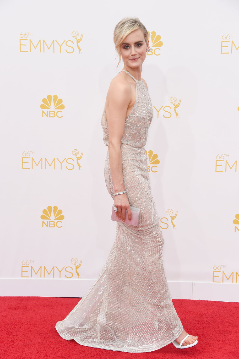 . Actress Taylor Schilling attends the 66th Annual Primetime Emmy Awards held at Nokia Theatre L.A. Live on August 25, 2014 in Los Angeles, California.  (Photo by Frazer Harrison/Getty Images)