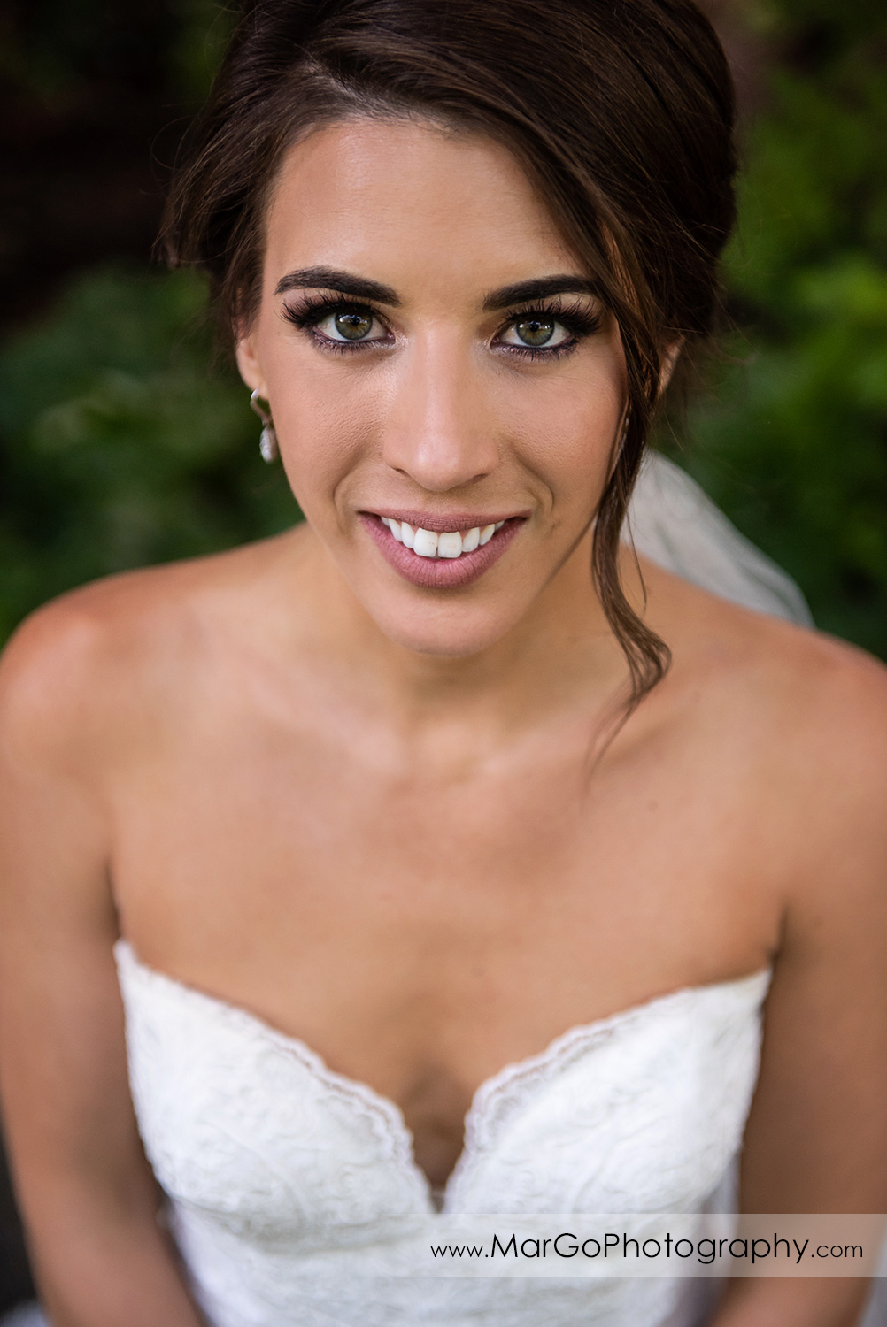 close-up portrait of bride at Piedmont Park