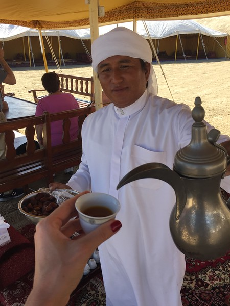 Enjoying local refreshments in Al Wakrah, Qatar - Bridget St. Clair