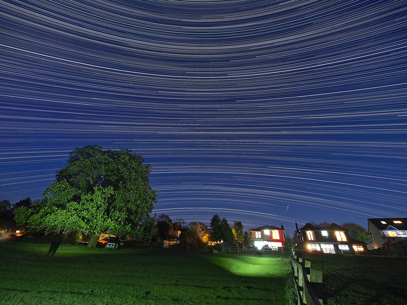 Reverse Arc Star Trail with Meteor