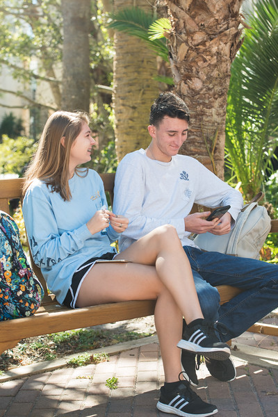 Alyssa Komandoslky and Bailey Dismuke enjoy the outdoors before heading to their classes.