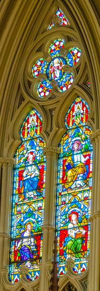Chancel windows right side - Four evangelists <br> glass by Franz Meyer, Munich